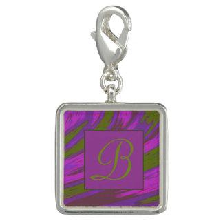 Dije Monograma púrpura del chasquido del color verde