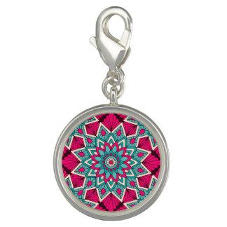 Dije Rosa y modelo floral de la mandala de la turquesa