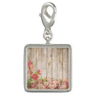 Dije Rosas románticos rústicos del vintage de madera