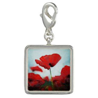 Dijes Con Foto Encanto rojo de la flor de la amapola para la