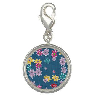 Dijes Con Foto Fondo azul con el modelo de flores colorido