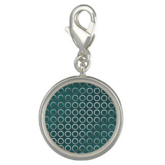Dijes Con Foto verde geométrico de plata de la turquesa del