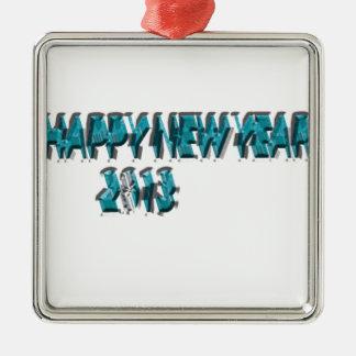 Dimensión del azul 3 de la Feliz Año Nuevo 2013 Adorno Navideño Cuadrado De Metal