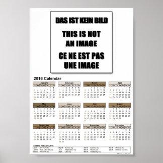 DinA5 poster del valor del calendario 2016