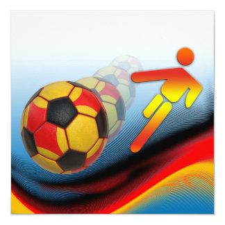 Dinámica del fútbol y del fútbol invitación 13,3 cm x 13,3cm
