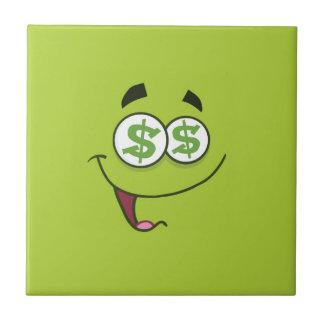 Dinero feliz Emoji Azulejo Cuadrado Pequeño