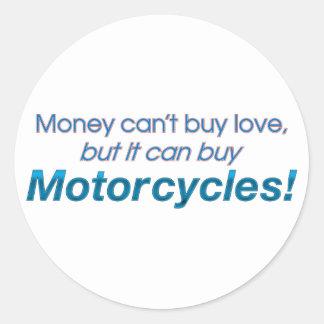 Dinero y motocicletas pegatinas redondas