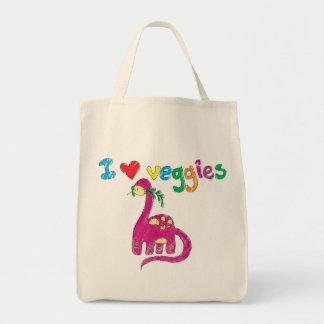 Dino ama los veggies bolsa tela para la compra