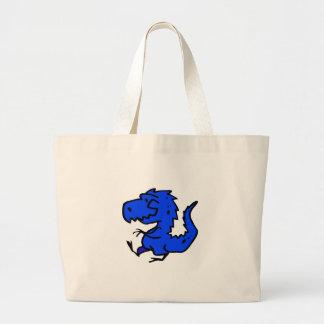 Dino azul bolsa tela grande