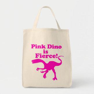 Dino rosado es diseño rosado divertido feroz bolsas