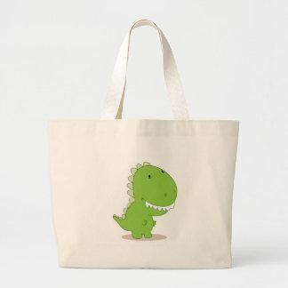Dino verde feliz bolsa de mano