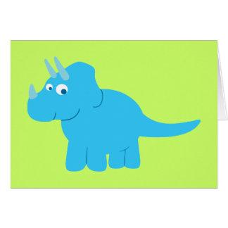 Dinosaurio azul del Triceratops Tarjeta De Felicitación