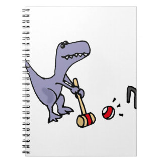Dinosaurio azul divertido de T-Rex que juega Libro De Apuntes Con Espiral