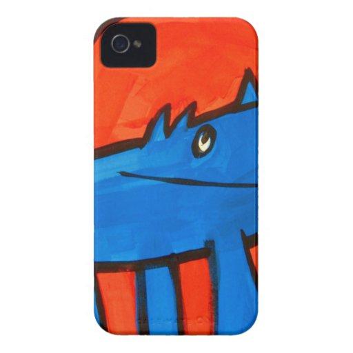 Dinosaurio azul iPhone 4 Case-Mate coberturas