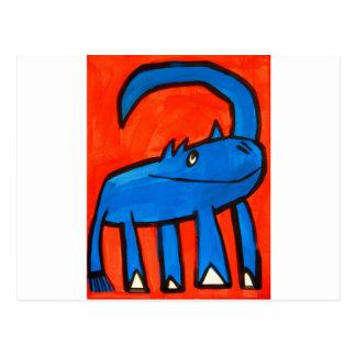 Dinosaurio azul tarjetas postales