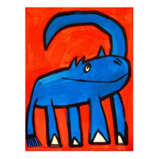 Dinosaurio azul tarjeta postal