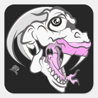 Dinosaurio blanco salvaje pegatina cuadrada