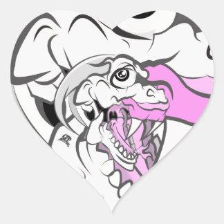 Dinosaurio blanco salvaje pegatina en forma de corazón
