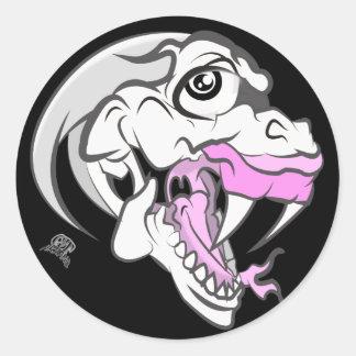Dinosaurio blanco salvaje pegatina redonda