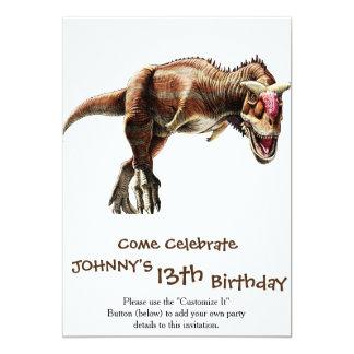Dinosaurio carnívoro impresionante del regalo del invitación 12,7 x 17,8 cm
