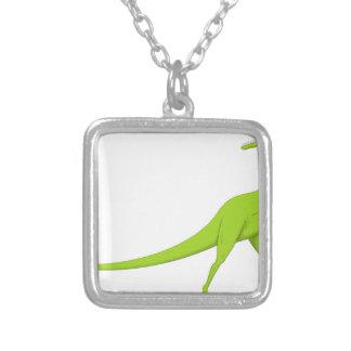 Dinosaurio Collar Plateado