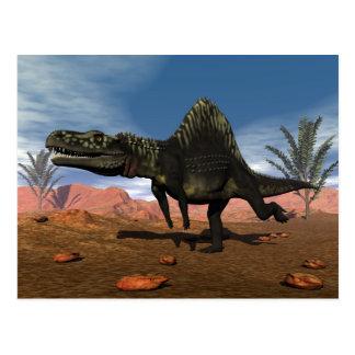 Dinosaurio de Arizonasaurus en el desierto Postal