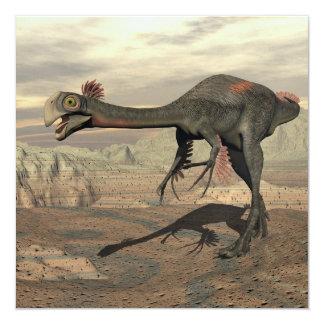Dinosaurio de Gigantoraptor en el desierto - 3D Invitación 13,3 Cm X 13,3cm