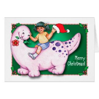 Dinosaurio de las Felices Navidad Tarjeta De Felicitación