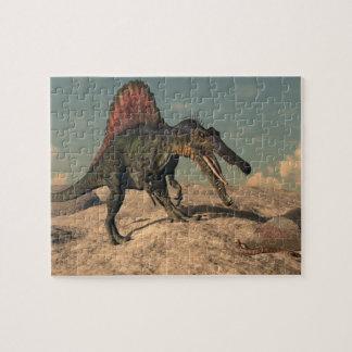 Dinosaurio de Spinosaurus que caza una serpiente Puzzle