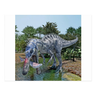 Dinosaurio de Suchomimus que come un tiburón en un Postal