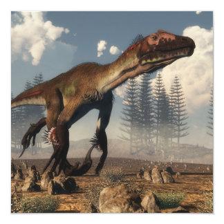 Dinosaurio de Utahraptor en el desierto - 3D Invitación 13,3 Cm X 13,3cm