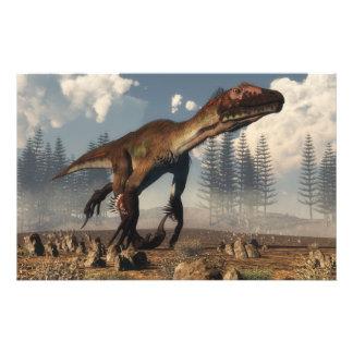 Dinosaurio de Utahraptor en el desierto - 3D Papelería