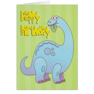 Dinosaurio del azul del feliz cumpleaños felicitacion