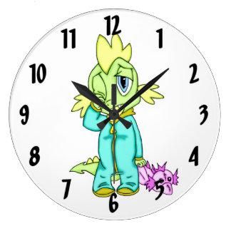 Dinosaurio del bebé reloj redondo grande