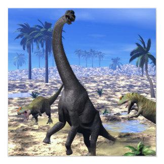 Dinosaurio del brachiosaurus del Allosaurus que Invitación 13,3 Cm X 13,3cm