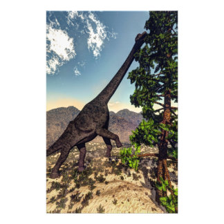 Dinosaurio del Brachiosaurus que come el pino del Papelería
