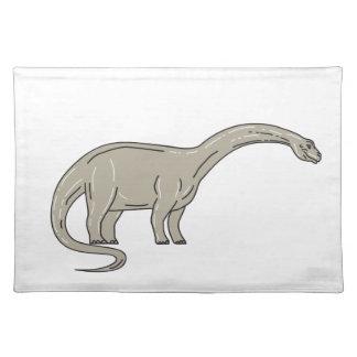 Dinosaurio del Brontosaurus que mira abajo de mono Salvamanteles