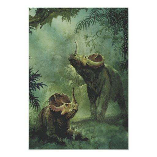 Dinosaurio del Centrosaurus del vintage en la selv Invitaciones Personales