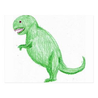 Dinosaurio del creyón postal