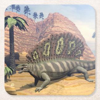 Dinosaurio del Edaphosaurus - 3D rinden Posavasos Cuadrado De Papel