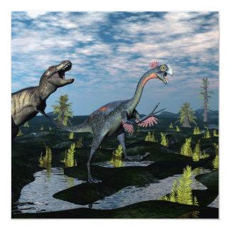 Dinosaurio del gigantoraptor del rex del invitación 13,3 cm x 13,3cm