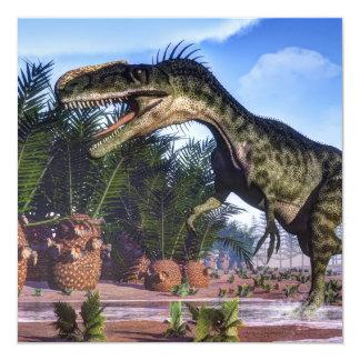 Dinosaurio del Monolophosaurus - 3D rinden Invitación 13,3 Cm X 13,3cm