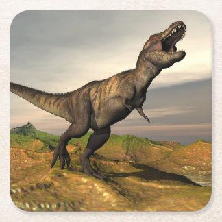 Dinosaurio del rex del Tyrannosaurus - 3D rinden Posavasos Cuadrado De Papel