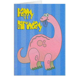Dinosaurio del rosa del feliz cumpleaños felicitacion