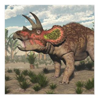 Dinosaurio del Triceratops - 3D rinden Invitación 13,3 Cm X 13,3cm