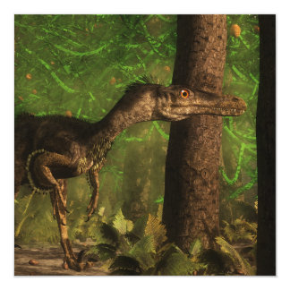 Dinosaurio del Velociraptor en el bosque Invitación 13,3 Cm X 13,3cm