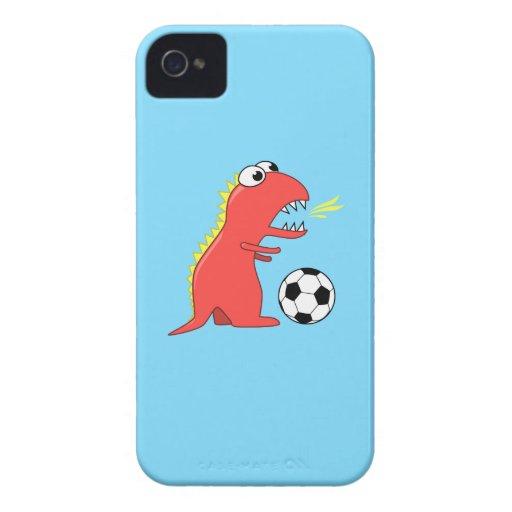Dinosaurio divertido del dibujo animado que juega  iPhone 4 cobertura