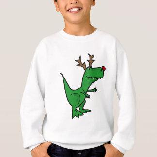 Dinosaurio divertido del navidad como reno sudadera