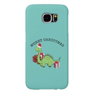 Dinosaurio divertido lindo de Santa del navidad Funda Samsung Galaxy S6