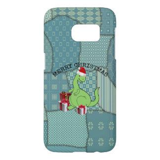 Dinosaurio divertido lindo de Santa del navidad Funda Samsung Galaxy S7